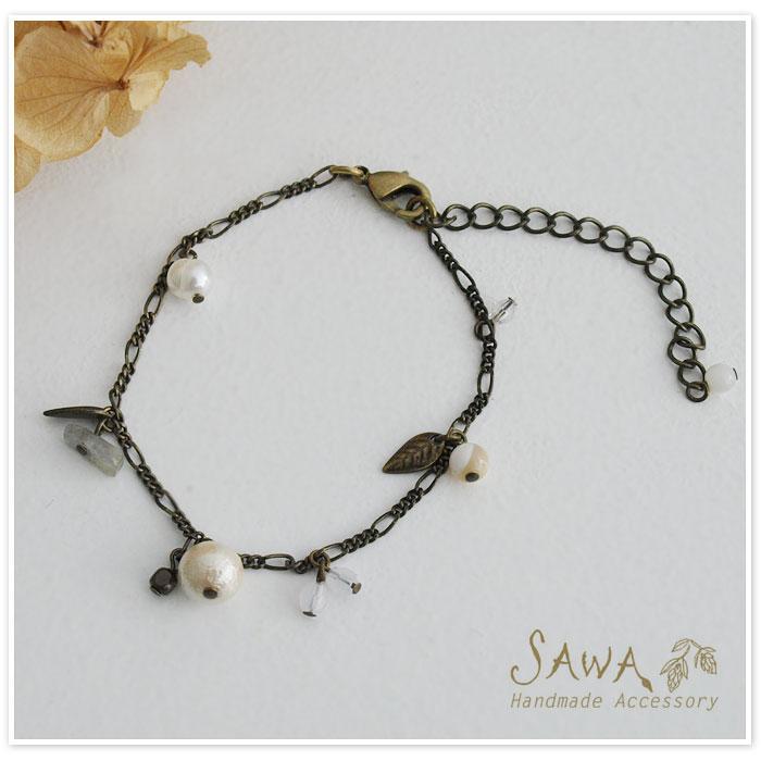 【SAWA サワ】コットンパール 天然石 ブレスレット