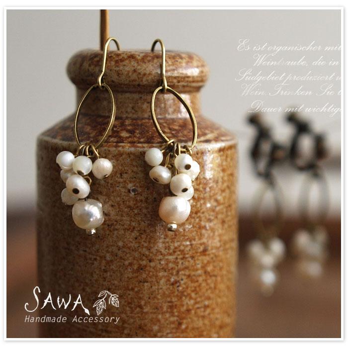 【SAWA サワ】楕円型 メタルリング と 淡水パール の ピアス / イヤリング