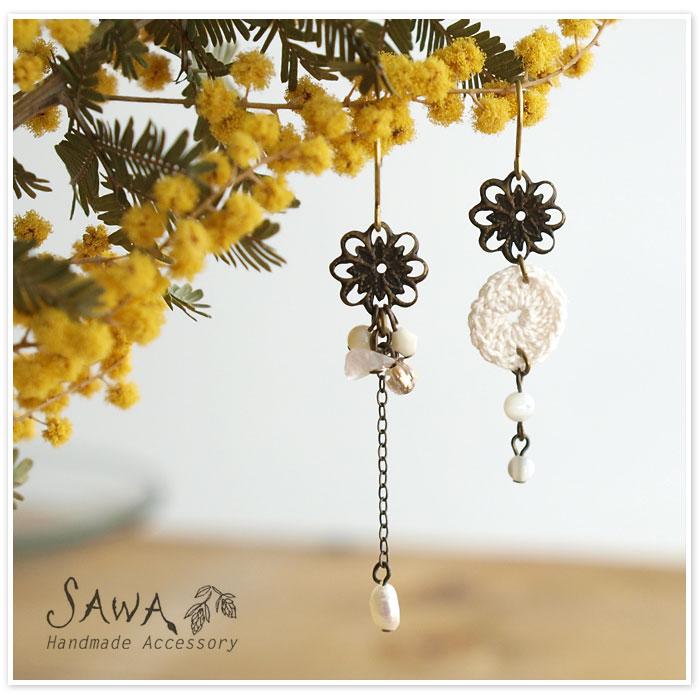 【SAWA サワ】天然石 淡水パール マザーオブパール の ピアス