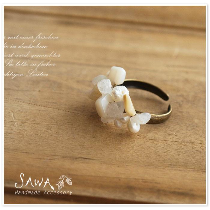 【SAWA サワ】淡水 パール シェル サザレ 天然石 の リング