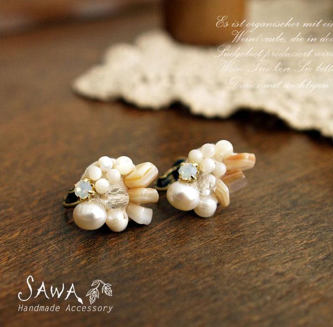 【SAWA サワ】淡水パール と ホワイトオパール の イヤリング