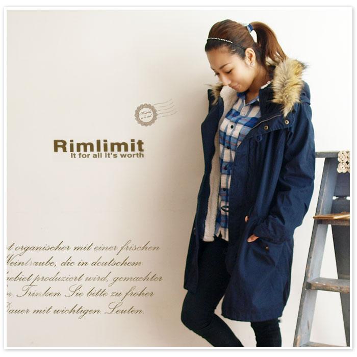 【Rimlimit  リムリミット】ボアライナー フェイクファー付きミリタリー モッズ コート