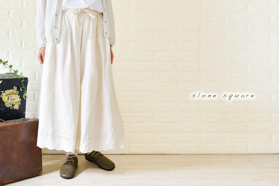 【slone square-スロンスクエア】スカラップレース刺繍 タックギャザー スカート (6354)