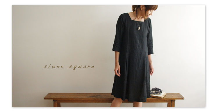 slone square/スロンスクエア【スクエアネックリネンワンピース】