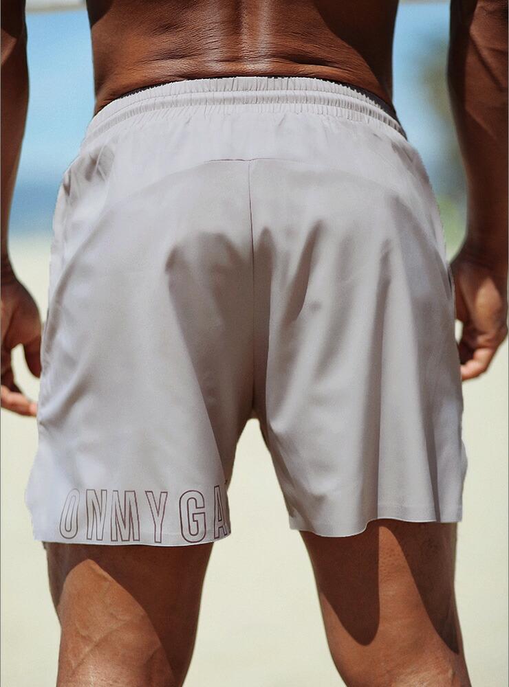 【OMG】インナースパッツ付きのショートパンツ!足元の文字デザインが秀逸!ジムウェアとしてどうぞ!