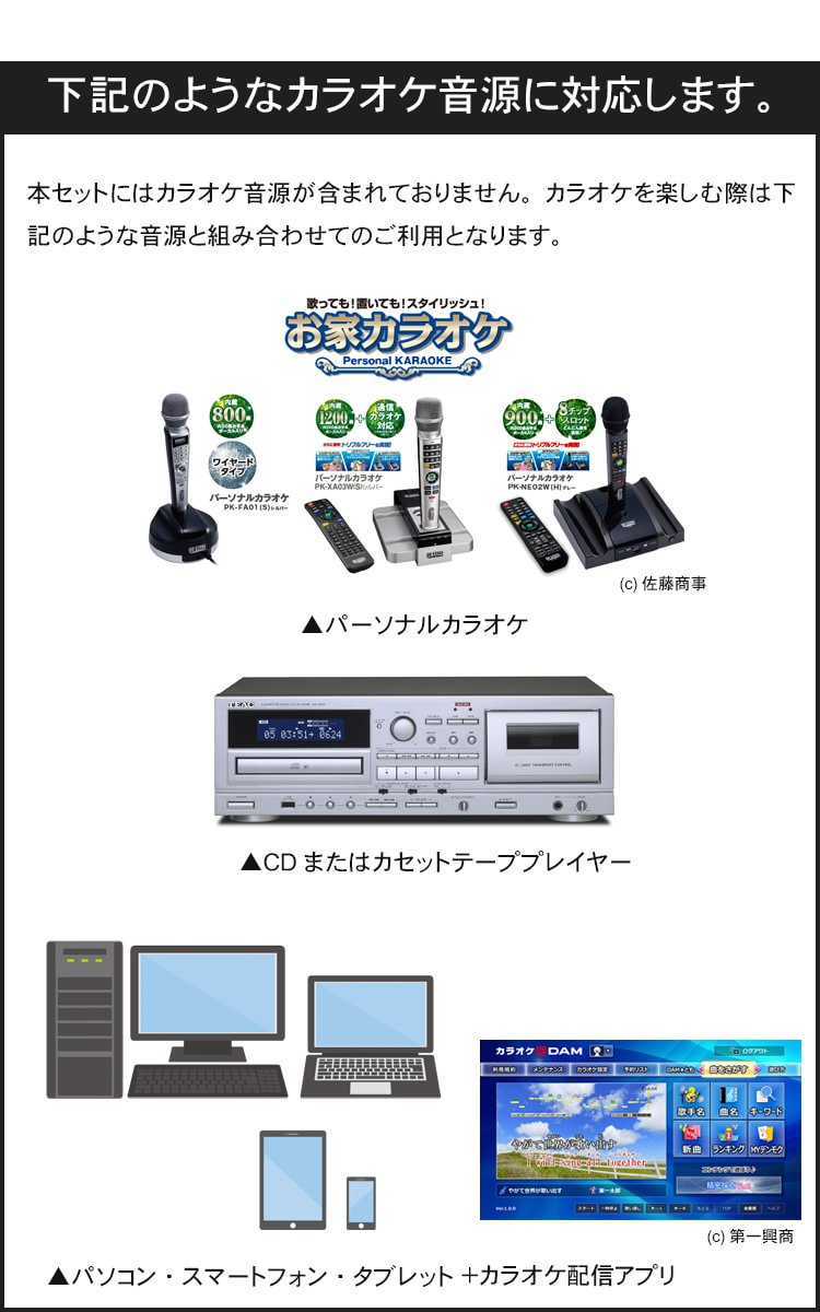 With 3ch microphone mixer (microphone 2, stereo input 1) with ■ echo with  the wireless microphone re-barbe