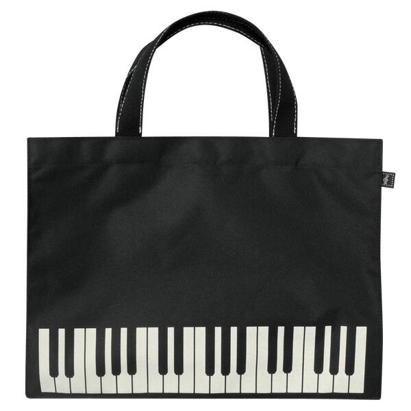 レッスンバッグ オブロング 鍵盤 ブラック