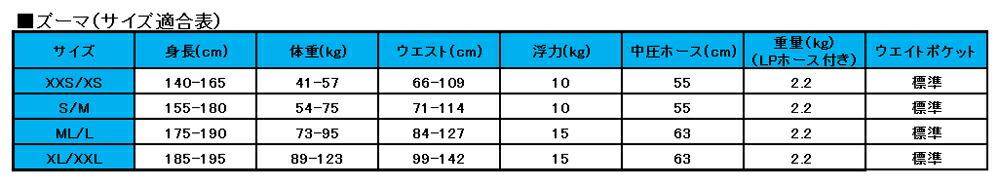 AQUALUNG ZUMA BC size chart