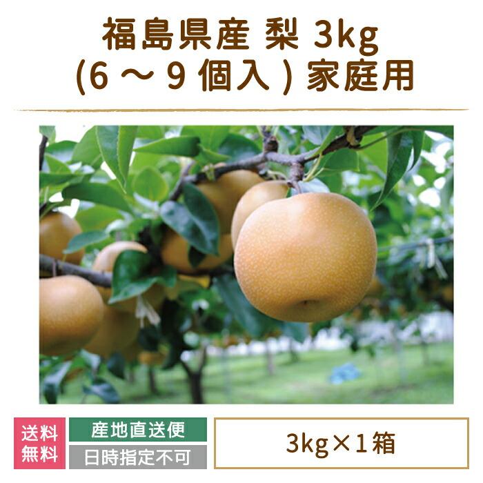 福島県産 梨 3kg (6~9個入)家庭用 鏡石町