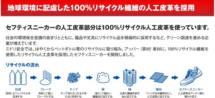 地球環境に配慮した100%リサイクル繊維の人工皮革を採用