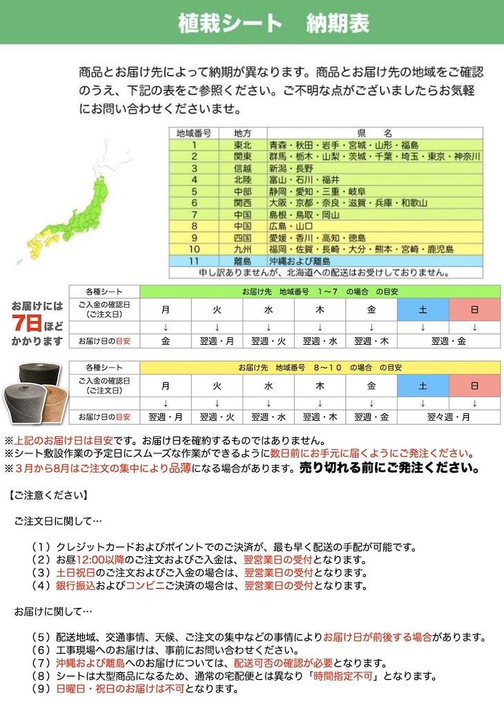 植栽シート納期表