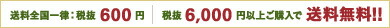 送料全国一律:税抜600円 税抜6000円以上ご購入で送料無料!