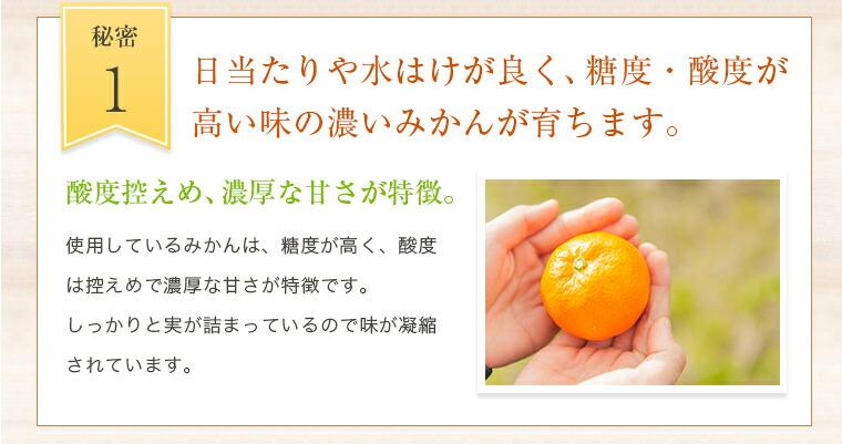1.日当たりや水はけが良く、糖度・酸度が高い味の濃いみかんが育ちます。