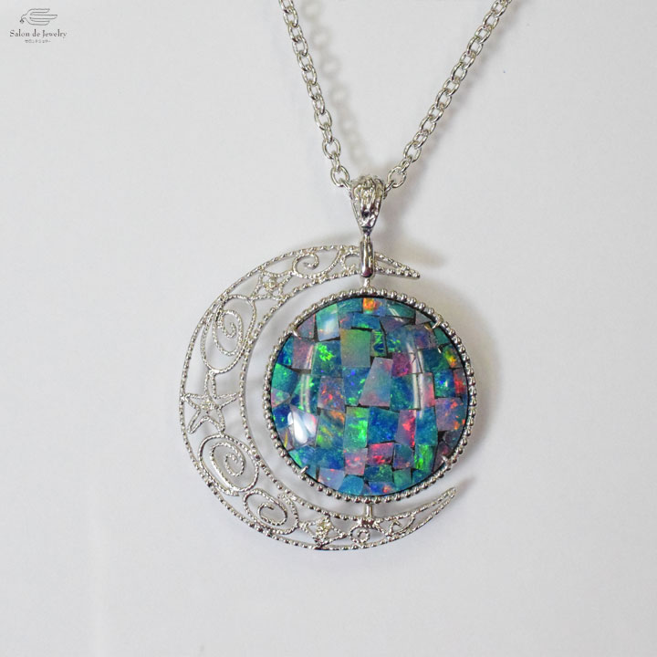 8off sv925 sv925 925 sterling silver mosaic opal necklace mozeypictures Gallery