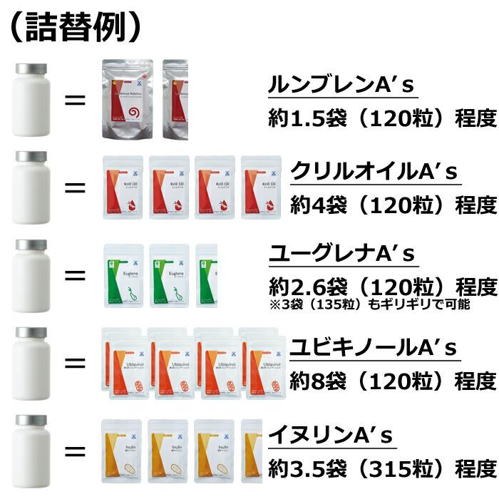 詰替え例 サプリメント 容器 ボトル 詰替 詰め替え as-11