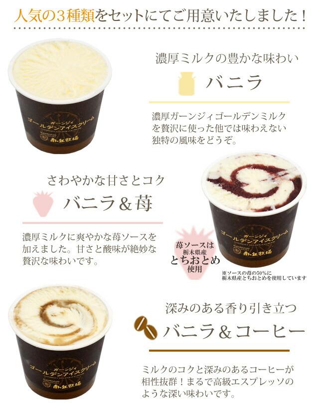 3種類の味 バニラ・苺・コーヒー