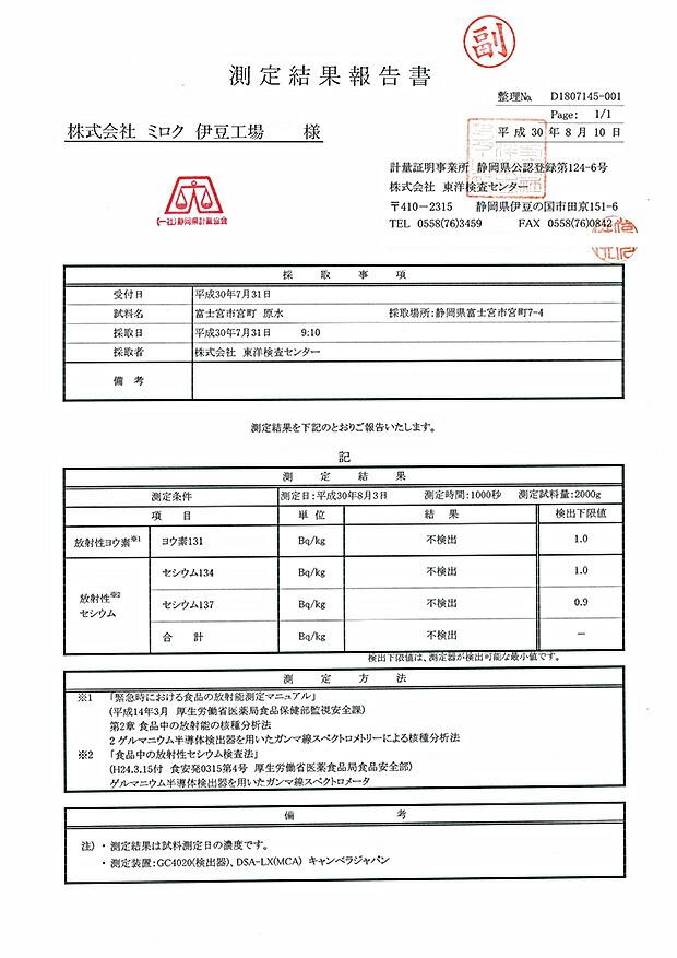 PREMIUM130 富士山のバナジウム水 検査結果