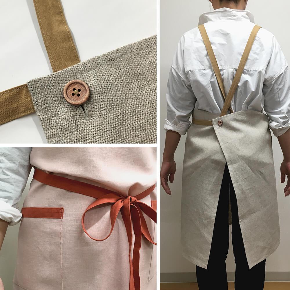リネンエプロン 無地 名入れ 刺繍 母の日 プレゼント 麻100% おしゃれ きれいめ 4color 日本製