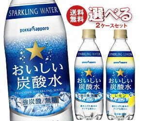 【送料無料】 ポッカサッポロ おいしい炭酸水・おいしい炭酸水レモン 選べる2ケースセット 500mlPET×48本入※北海道・沖縄・離島は別途送料が必要。