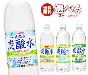 【送料無料】 サンガリア 伊賀の天然水 炭酸水 選べる2ケースセット 1Lペットボトル×24(12×2)本入 ※北海道・沖縄・離島は別途送料が必要。