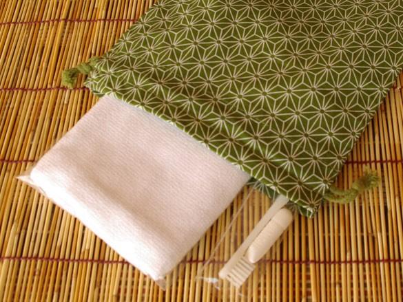 ホテル・旅館アメニティ 和風柄巾着 大 麻の葉柄 緑 500枚ロット