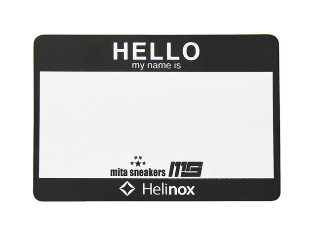 "Helinox HELLO My Name is PATCH ""Winiche & Co. x mita sneakers""  BLK/WHT (HWM-02)"