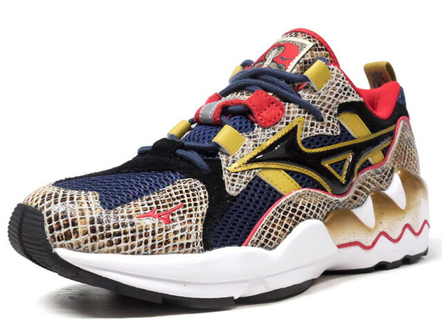 "MIZUNO WAVE RIDER 1 24 Kilates ""KING KOBRA"" ""24 Kilates"" ""LIMITED EDITION for KAZOKU""  SNK/NVY/RED/GLD/WHT (D1GD180414)"