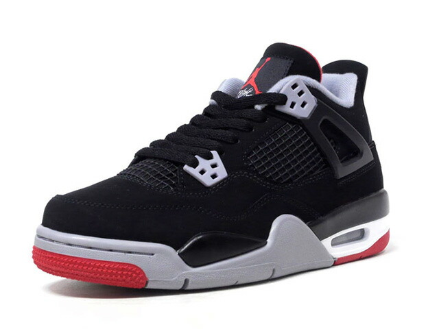 "JORDAN BRAND AIR JORDAN 4 RETRO GS ""BRED"" ""MICHAEL JORDAN"" ""LIMITED EDITION for JORDAN BRAND""  BLK/GRY/RED (408452-060)"