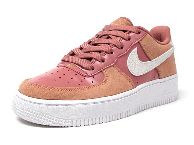 "NIKE AIR FORCE 1 LV8 VDAY GS ""VALENTINE'S DAY""  PINK QUARTZ/WHITE/METALIC GOLD (CD7407-600)"