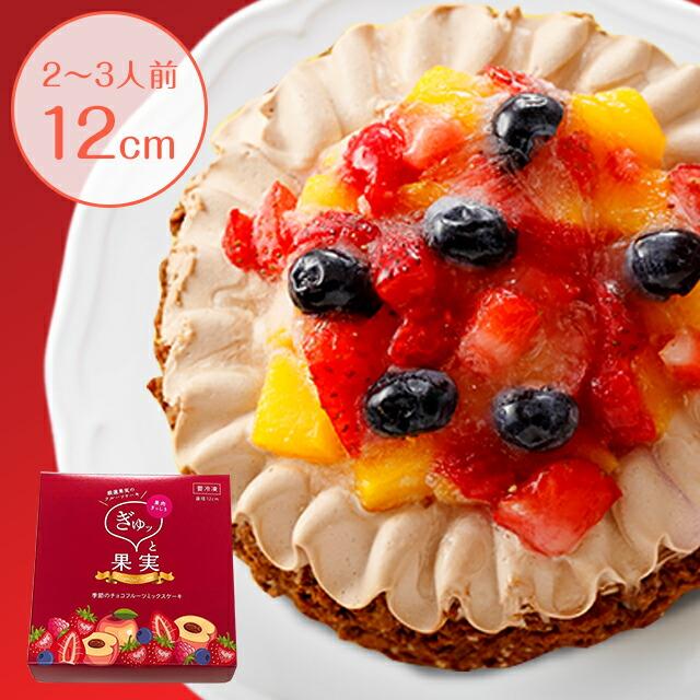 【ぎゅッと果実】季節のチョコフルーツミックスケーキ 4号