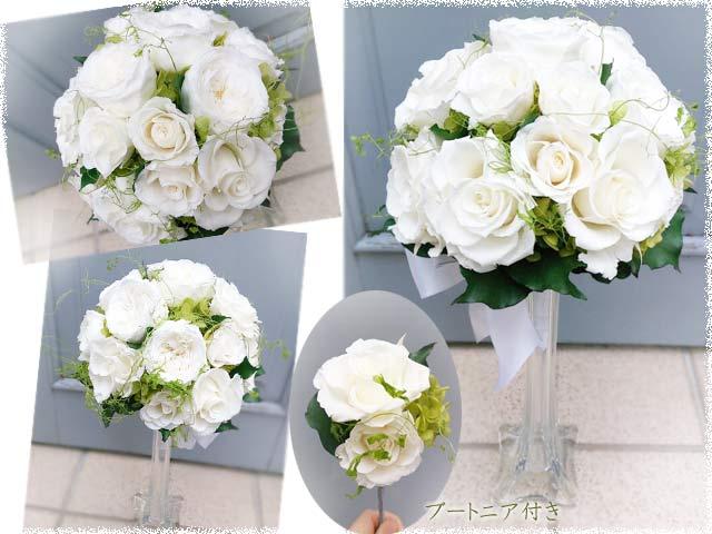 白グリーンの上品な王道きれいめラウンドブーケ フィデリテ写真がいっぱい