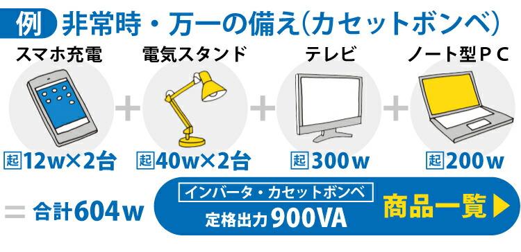 非常時・万一の備えの例)スマホ充電12w×2台+電気スタンド40w×2台+テレビ300w+ノート型PC200w=合計604w→定格出力850VA 商品一覧はこちら
