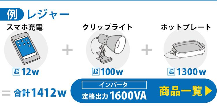 レジャーの例)スマホ充電12w+クリップライト100w+ホットプレート1300w=合計1412w→定格出力1600 商品一覧はこちら
