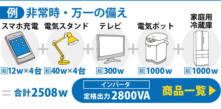 非常時・万一の備えの例3)スマホ充電12w×4台+電気スタンド40w×4台+テレビ300w+電気ポット1000w+家庭用冷蔵庫1000w=合計2508w→定格出力2800VA 商品一覧はこちら