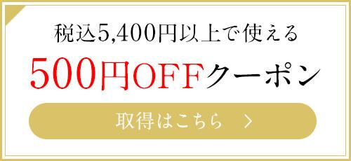 5400以上ご購入以上で使える500円OFFクーポン