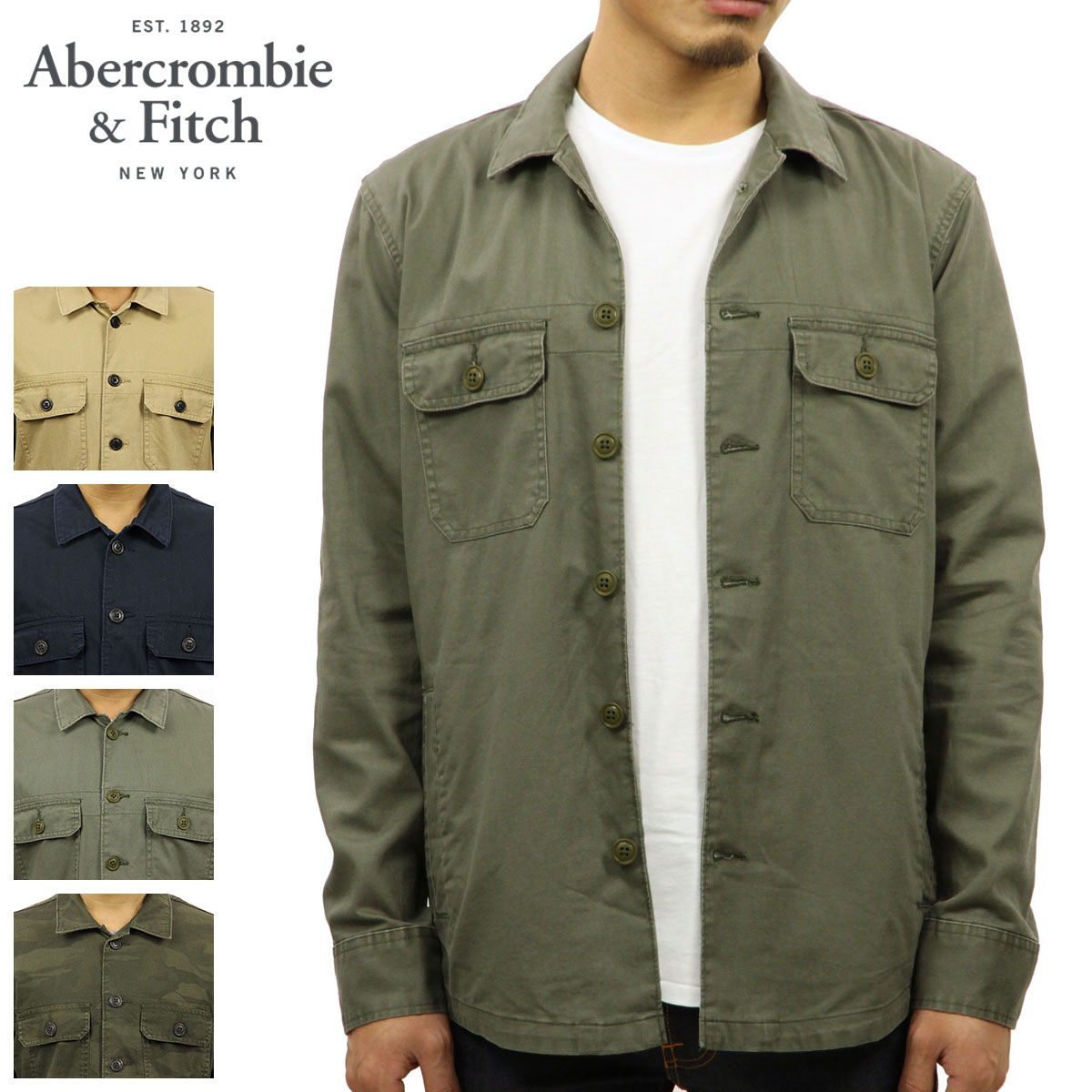 search for genuine 100% satisfaction promo codes ABBA black outer men's regular article Abercrombie & Fitch jacket military  shirt jacket MILITARY SHIRT JACKET