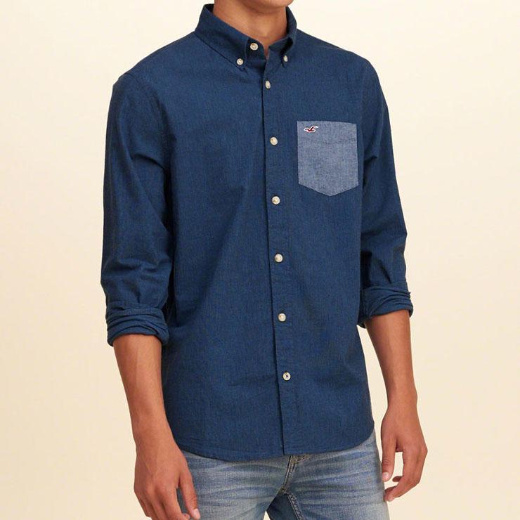 ホリスター HOLLISTER 正規品 メンズ 長袖シャツ  Solid Poplin Shirt Epic Flex 325-259-1586-200