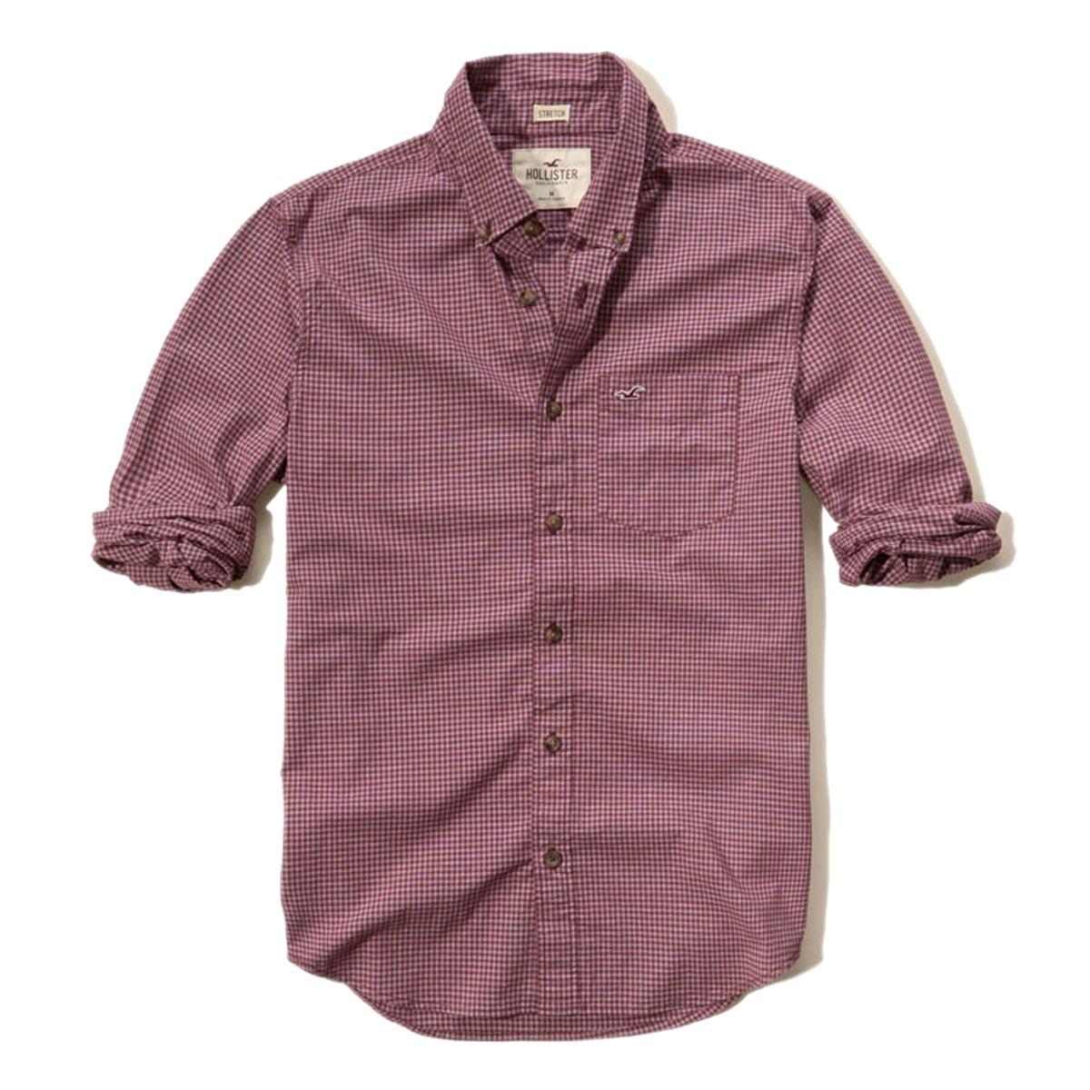 ホリスター HOLLISTER 正規品 メンズ 長袖シャツ  Plaid Poplin Shirt Epic Flex 325-253-0256-528