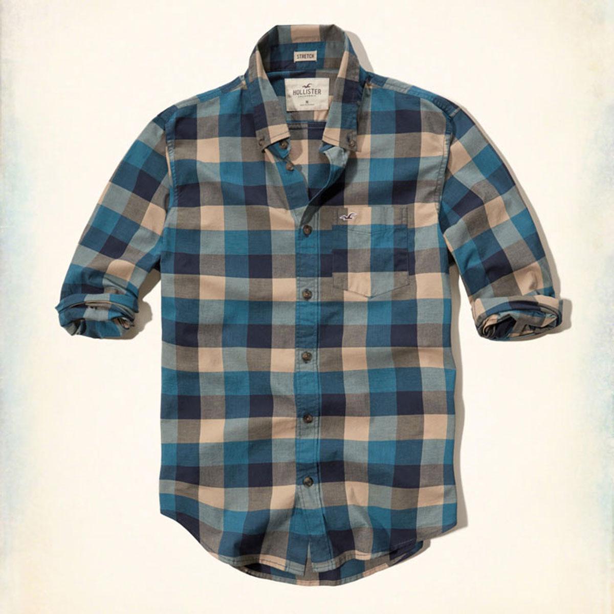 ホリスター HOLLISTER 正規品 メンズ 長袖シャツ  Plaid Poplin Shirt Epic Flex 325-259-1612-808