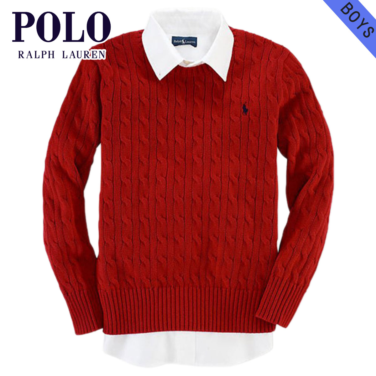 203fb6467 Poloralflorenkids POLO RALPH LAUREN CHILDREN genuine kids clothing boys  sweater Classic Cable Crewneck #13004938 RED 10P22Jul14