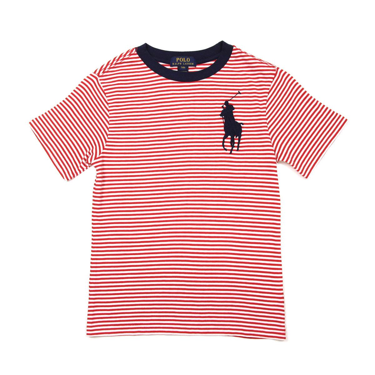bdb0ceb2 Poloralflorenkids POLO RALPH LAUREN CHILDREN genuine kids clothing boys  short sleeve T shirt COTTON BIG PONY S/S BORDER CREW TEE 323591327001  20P05Nov16