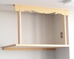 神棚板セット(大) 丸柱雲板付き 取付