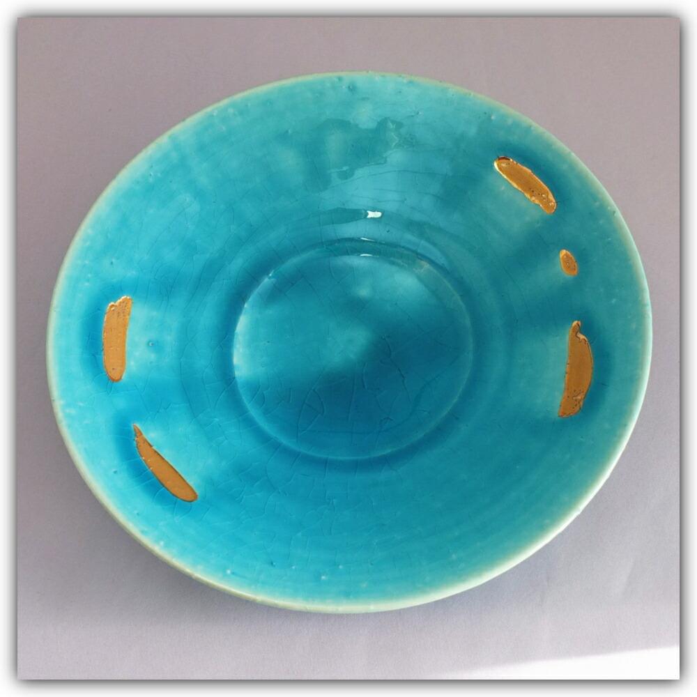 清水焼7寸皿 金彩トルコブルー