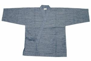 紳士久留米織作務衣(綿100%紬節織り作務衣)上着