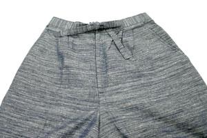 紳士久留米織作務衣(綿100%紬節織り作務衣)ズボンウエスト部分はツータックデザイン。すっきりとしたデザインです。