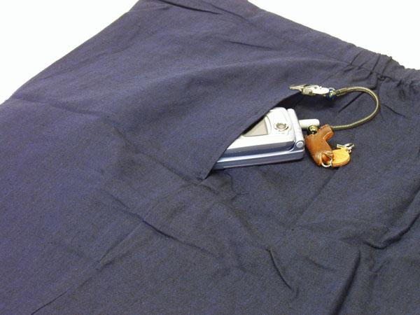 麻混先染め作務衣 パンツポケット