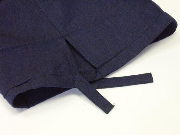 麻混先染め作務衣 パンツ裾紐