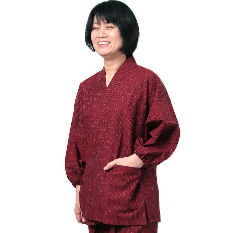 作務衣「紬織り」赤