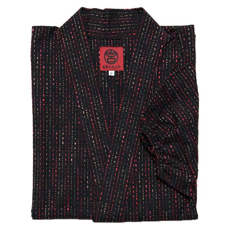 作務衣「紬織り」紺