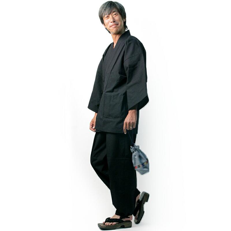 作務衣(さむえ)紬織り【日本製】男性用 紺 衿元